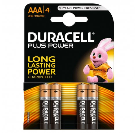 Duracell MN2400B4 Pilas Alcalinas AAA LR03 1.5V Plus Power (4 unidades)